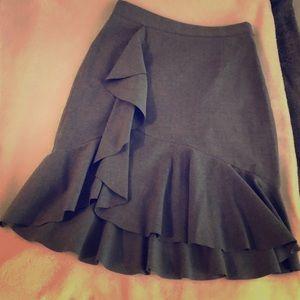 Banana Republic Grey Flannel Ruffled Skirt